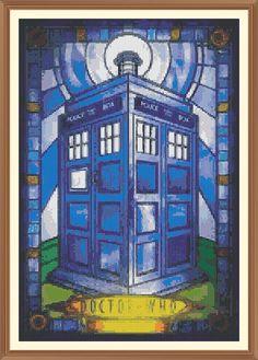 Stained glass Dr Who Tardis  cross stitch chart 8.2 x by Shawboyz, £5.25