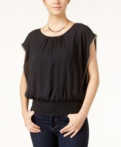 BCX Juniors' Chain-Trim Smocked-Hem Top $19.99 Gold chain details the sleeves of BCX's chiffon top with a smocked hem, perfect for a casual party or dinner date.