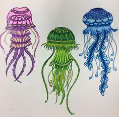 """Colorful jelly fish #lostocean #lostoceancolors #lostoceanbook #lostoceancoloringbook #johannabasford #color #colorpencil #coloringbook #colorpencils…"""