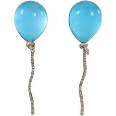 Vhernier Rock Crystal Diamond Gold Abalone Balloon Earrings