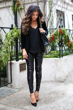Perfect Simple glam holiday look! Express boyfriend blazer, express leggings, express cami, Chanel earrings, michele watch. The Sweetest Thing Blog, Emily Ann Gemma. Fashion Blogger, Fashion Outfit, Glam Fashion, Formal outfit, evening style, women fashion. #TheSweetestThingBlog #EmilyAnnGemma #fashionoutfit