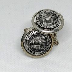 Parthenon Cuff Links Athens Greece Travel Souvenir Cufflinks Silver tone and Black Round Gift for the Classics Greek Hellenic Scholar