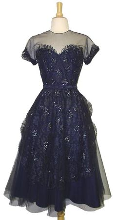 1950's Cocktail Dress by Frank Starr. Sequined Navy Lace & Tulle