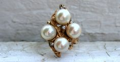 Large Vintage Pearl and Diamond Cluster Ring in 14K Yellow Gold. #etsy #etsyjewelry #goldadore