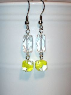 Clear Rectangle Glass Bead with Yellow Swirl Glass Bead Dangle Earrings