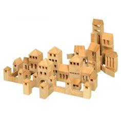 Juego de construcción de madera ciudad de 107 piezas