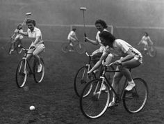 ladies playing bike polo