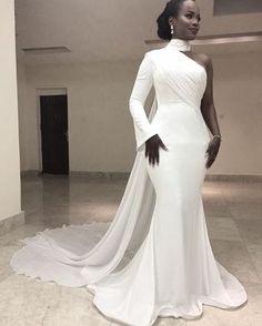 Modern White High Neck Single Long Sleeve Mermaid Formal Evening Dresses Chiffon Train Simple Trumpet Africa Women's Evening Gowns 2017 Evening Dresses Prom Dresses Long Sleeve Formal Gown Online with Chiffon Evening Dresses, Formal Evening Dresses, Elegant Dresses, Chiffon Dress, Evening Gowns, Beautiful Dresses, Evening Party, White Formal Gowns, Pretty Dresses