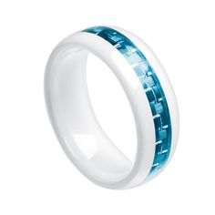 $119 White Ceramic Ring, Blue Carbon Fiber Inlay 8mm www.ringsparadise.com