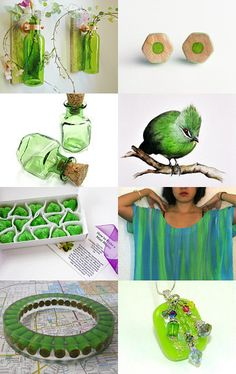 I love the green and I want those glass bottles in my yard!  Plus she included my pendant in this treasury!--Pinned with TreasuryPin.com