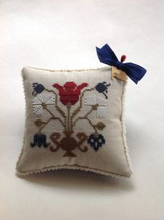 Cross stitched Americana pin cushion-bowl filler - pillow by Heartstring Samplery