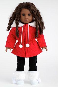 Winter Extravaganza - American Girl Doll Coats Snow Parka, Black Leggings, Boots