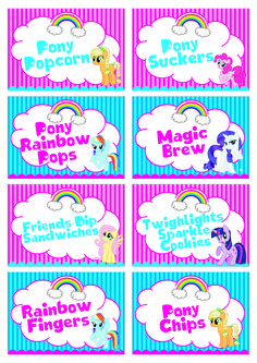 My Little Pony custom designed party food cards