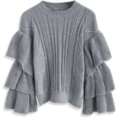 Chicwish Grey Cable Knit Sweater with Tiered Flare Sleeves (€56) ❤ liked on Polyvore featuring tops, sweaters, jumpers, grey, flounce tops, cable sweater, bell sleeve tops, flutter-sleeve top and frilly tops