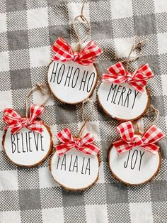 $40 · These Rae Dunn inspired Christmas ornaments are a cute way to add a touch of farmhouse to your Christmas decor. Birch slices measure about 3- 3 1/2 inches wide and may vary slightly in size. This listing is for a set of 5 ornaments. Ornaments say: Ho Ho Ho Merry Believe Joy Fa La La Feel free to message me for custom orders or to purchase individually. #christmasornament