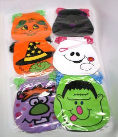 With these drawstring Halloween goody bags it?s the more the merrier. With this package of 72 that is less than 17 cents per Halloween goody bag. The Drawstring Halloween Goody Bags come in 6 differ. Halloween Goodie Bags, Halloween Buckets, Halloween Party Supplies, Halloween Costume Accessories, Halloween Goodies, Halloween Snacks, Halloween Trick Or Treat, Halloween Party Decor, Halloween Design