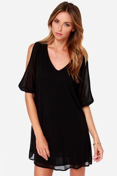 LULUS Exclusive Shifting Dears Black Long Sleeve Dress at LuLus.com! super classy