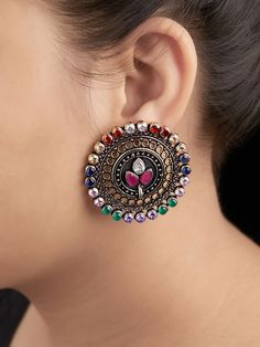 The Loom- An online Shop for Exclusive Handcrafted products comprising of Apparel, Sarees, Jewelry, Footwears & Home decor. Indian Jewelry Earrings, Indian Jewelry Sets, Silver Jewellery Indian, Jewelry Design Earrings, Gold Earrings Designs, Ear Jewelry, Fashion Earrings, Silver Jewelry, Silver Earrings