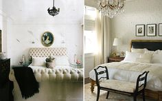 Right photo: I love the contrast of industrial brick walls and gorgeous chandeliers