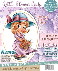 Little Flower Lady - Digital Stamp A4 Sheet Size, Paper Background, Digital Stamps, Digital Image, Graphics, Flower, Lady, Anime, Products
