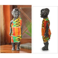 NOVICA African Wood Sculpture with Cotton Kente (805 NOK) ❤ liked on Polyvore featuring home, home decor, clothing & accessories, sculpture, yellow home accessories, wooden sculptures, african wood sculptures, wooden home decor and novica home decor
