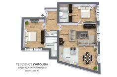 Floorplan of a two bedroom apartment Type 3 in Residence Karolina, Prague