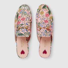 Gucci Princetown Slipper mit New Flora-Print Detail 3