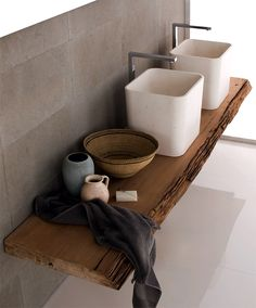 Neutra Duo  Bath Elements   Nice Use Of Organic Wood Shelf