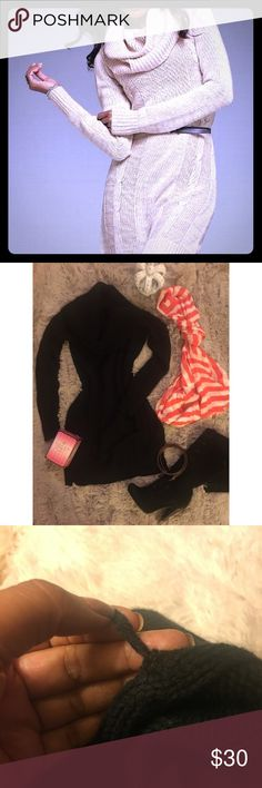 😍BLACK Victoria's Secret Cowl Neck Sweater Dress 😍💖Moda International Black Cowl Neck Sweater Dress with long sleeves 👗   Very warm, extreme cowl neck, sweater dress from Victoria's Secret sold brand Moda International.  Great to be worn with thigh high boots or some opaque stockings and a pair of heels.  It is both sexy and cozy; just in time for AW17.  1 barely noticeable pull near the bottom of the skirt pictured above  MAKE ME AN OFFER! 💖  IG 📸 bitchybuddhist to watch my fashion…