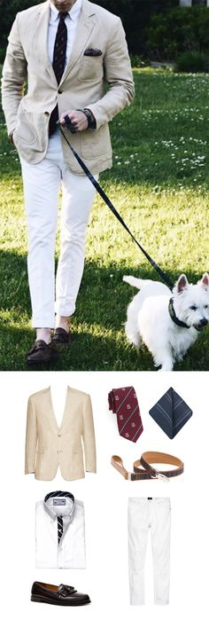 Get this summer preppy look with regimental necktie and burgundy tassel loafers