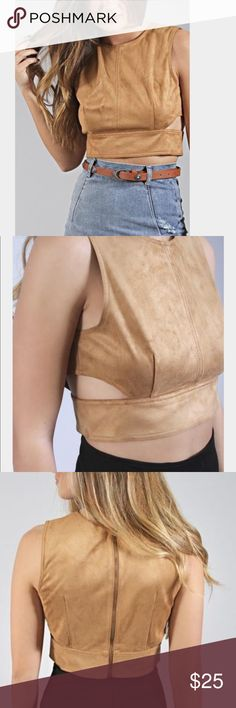 Faux Suede sized cutout crop top Size medium/ brown chestnut tan color/ NEW WITHOUT TAG!!! Perfect condition Other Tops Blouses