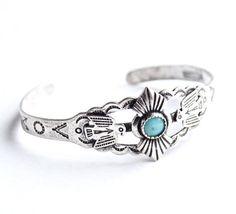 Vintage Sterling Silver Cuff Bracelet   Tiny XXS Native American Jewelry by MaejeanVINTAGE, $30.00