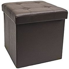 Sorbus Faux Leather Folding Storage Ottoman Cube Foot Rest Stool Seat (Chocolate)