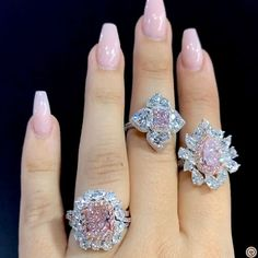 "aarachminov_diamonds. Via BEBE BAKHSHI | CHAMPAGNE GEM (@champagnegem) on Instagram: ""Stacking pink diamonds looks effortlessly chic with exquisite @aarachminov_diamonds perfectly pink…"""