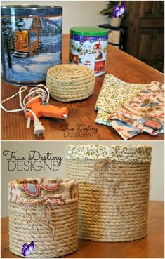tora6x 20 Crazy Creative Popcorn Tin Repurposing Projects  - Organizing Ideas    #Crazy #Creative #ideas #Organizing #Popcorn #Projects #Repurposing #Tin<br> Rope Crafts, Recycled Crafts, Twine Crafts, Recycled Decor, Recycled Tin Cans, Wooden Crafts, Recycled Materials, Wooden Toys, Tin Can Crafts
