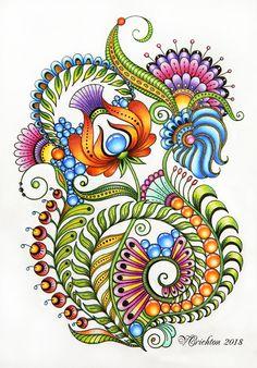 Zentangle art, zentangle gems and droplets, doodle flowers, colour pencils. Doodle Art Drawing, Zentangle Drawings, Doodles Zentangles, Zentangle Patterns, Art Drawings, Flower Doodles, Doodle Flowers, Floral Doodle, Tangle Art