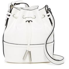 French Connection Iris Drawstring Bucket Bag ($50) ❤ liked on Polyvore featuring bags, handbags, shoulder bags, summer white, summer purses, white handbags, drawstring purse, white purse and faux leather handbags