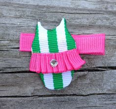 Bathing Suit Ribbon Sculpture Hair Clip - Toddler Hair Bows - Girls Hair Accessories... Free Shipping Promo