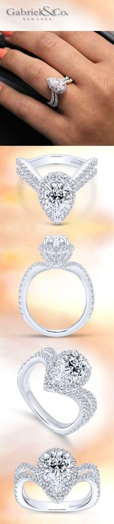 Gabriel & Co. - Voted #1 Most Preferred Jewelry Designer. A modern design for a classic Marquise Diamond Halo 18k White Gold Engagement Ring.