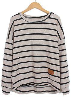 Camiseta rayas combinada polipiel manga larga-Kaki EUR€15.72