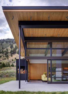 Sliders to patio. Modern Mountain Home