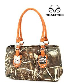 Realtree Max-4 Camo Handbag with Orange Top Handle  #realtreecamo #camobags