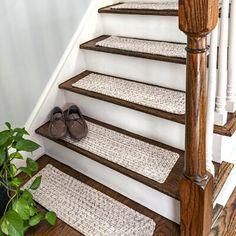 Gracie Oaks Godinez Stair Tread Color: Ivory, Tread Size: Rectangle x Stair Renovation, Basement Renovations, House Renovations, House Remodeling, Foyers, Carpet Diy, Carpet Ideas, Carpet Decor, Shaw Carpet
