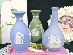 WEDGWOOD set of 3 Jasper ware bud vases blue green lavender queens design Vases For Sale, Wedgwood, Bud Vases, Jasper, Blue Green, Queens, Lavender, Shapes, Handmade