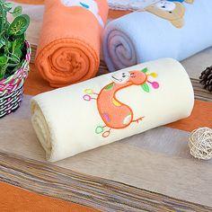 Yellow Giraffe Embroidered Fleece Baby Throw Blanket