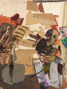 """Alfred RETH (Budapest, 1884- Paris,1966) PERSONNAGES Gouache et collage sur carton cachet de la signature enhaut à gauche """"A. Reth"""" h: 65 w: 50 cm"""