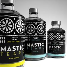 Dolphins from Greece designed the label for a liqueur, inspired by the black and white geometric decoration on the building facades of Chios mastic villages, such as Pyrgi.  http://lookslikegooddesign.com/packaging-by-dolphins/
