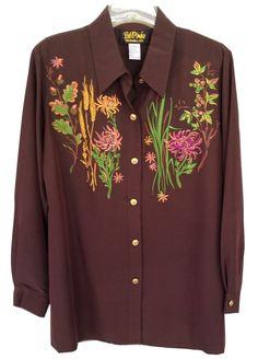 Bob Mackie Wearable Art Autumn Magic Embroidered Big Shirt Women's L Large EUC #BobMackie #ButtonDownShirt #Casual