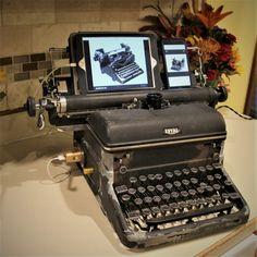 Vintage Royal Typewriter Edison Lamp by PowerandLightDesigns Iphone Docking Station, Royal Typewriter, Edison Lamp, Vintage Typewriters, Unique Lamps, Lighting Design, Charger, Bulb, Garlic Parmesan