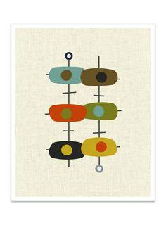 TANDEM 8x10 Version Giclee Print Mid Century Modern Mid Century Art, Mid Century Decor, Mid Century Modern Design, Mid Century Style, Danish Modern, Mid-century Modern, Modern Minimalist, Retro Kunst, Retro Art